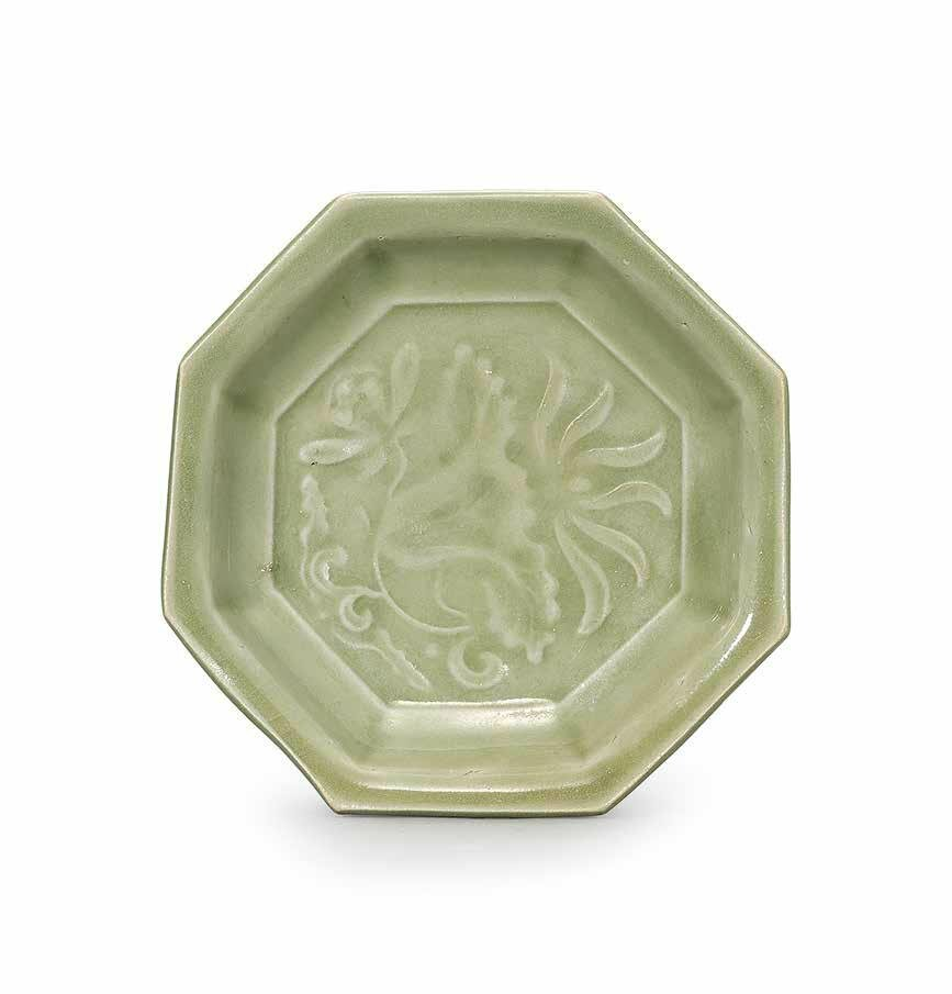 A small moulded Yaozhou celadon octagonal dish, Northern Song dynasty (960-1127)