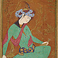 A seated youth in green, ca. 1600-1610. safavid period, isfahan, iran
