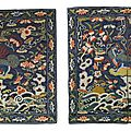 A pair of military official's lion rank badges, qing dynasty, 18th century