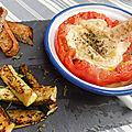 Banon en cocotte de tomates et mouillettes de courgettes