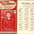 Sheet music - quand c'est de l'amour (somebody to love) - l'école des coeurs brisés (partitions) - eddie mitchel
