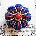 ♥ darcie ♥ broche textile japonisante fleurs potirons - les yoyos de calie