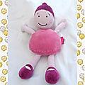 Doudou peluche poupée rose et violet marèse