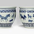 A pair of large underglaze blue 'zodiac' cachepots, qing dynasty (1644-1911)