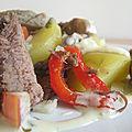 Salade de pomme de terre au pot au feu sauce à la moutarde et au vinaigre de cidre