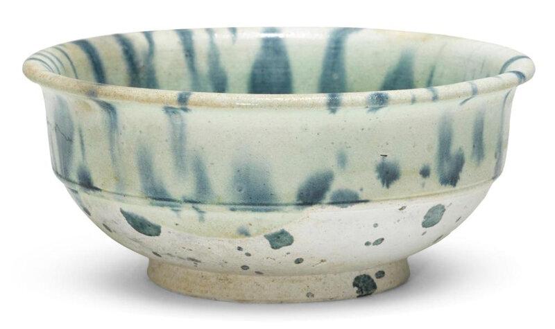 A blue-splashed pottery bowl, 10th century