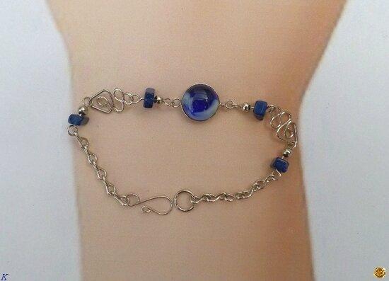 Bracelet Tristana Perle Verre Murano Et Pierre de Roche Bleu Sapphire Blanc Argent d'alpaca Artisanat du Pérou