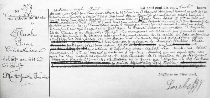 transcription acte de décès de Pierre Flaché