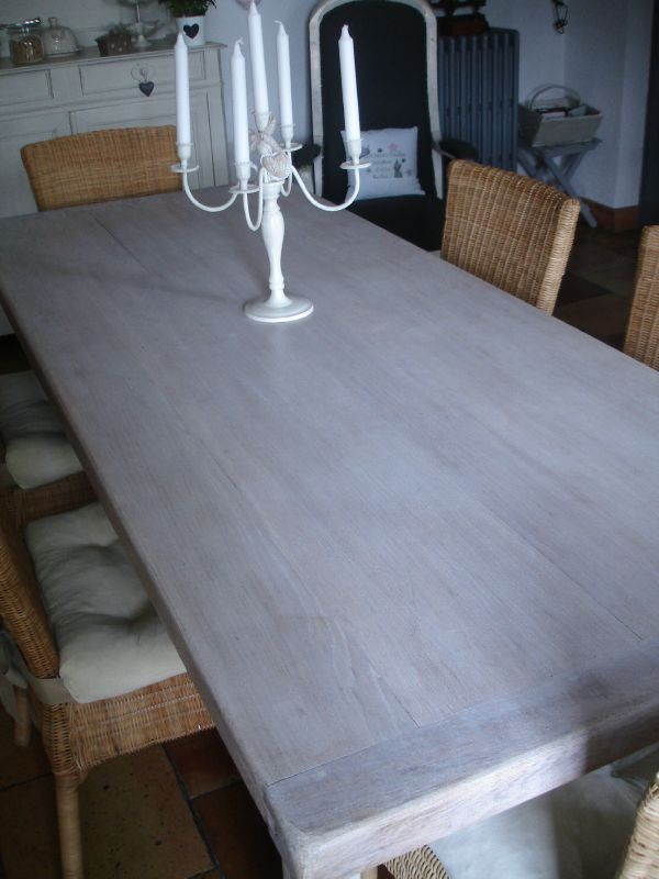 Table cuisine patine ficelle dessus cire blanc colombe