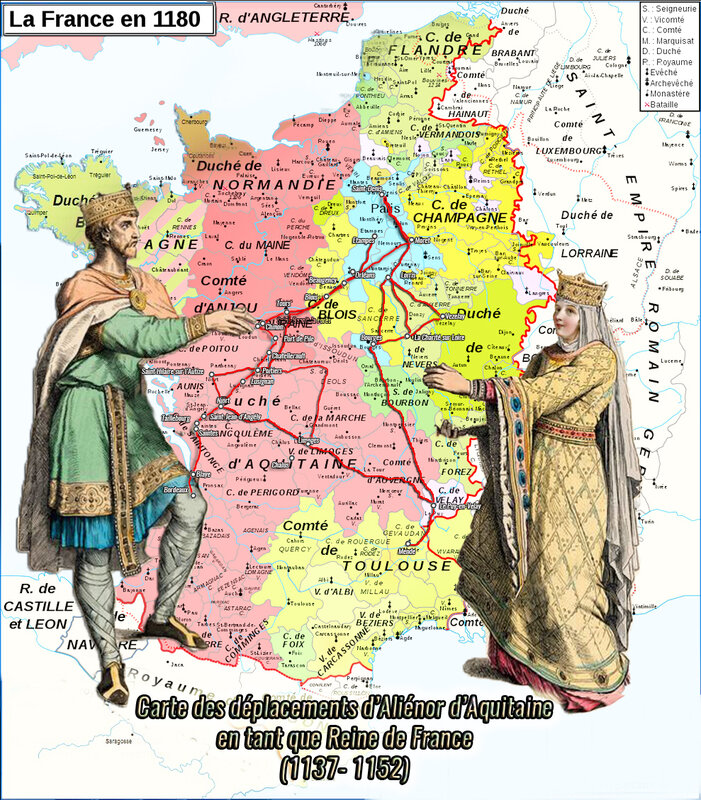 Carte des déplacement d'Aliénor d'Aquitaine en tant que reine de France 1137 - 1152