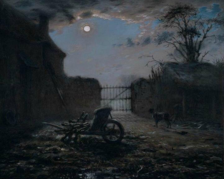 Jean-francois-Millet-cour de ferme au clair de lune