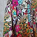Veste VICTORINE en toile de coton imprimée zèbre-léopard-rose-violet - Doublure de satin noire (4)