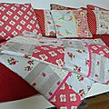 Plaid patchwork en coton fleuri