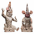A pair of painted pottery figures of earth spirits, zhenmu shou, tang dynasty