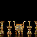 An exceptionally rare gold-ground famille-rose five-piece altar set (wugong), seal marks and period of qianlong (1736-1795)