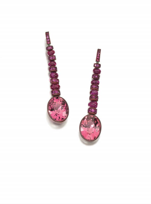 Pair of spinel and pink sapphire earrings, Hemmerle