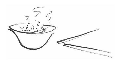 Guilaine Cacot, repas avec baguettes, VA 36