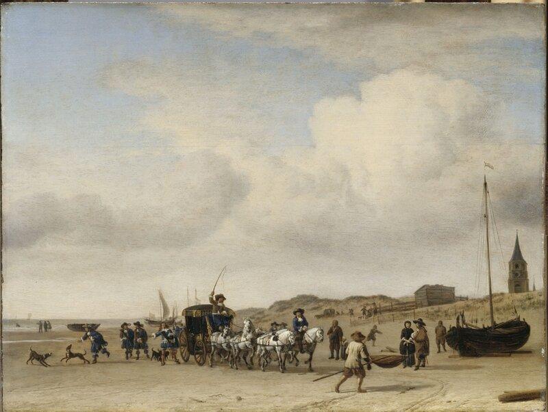Adriaen van de Velde Een rijtuig op het strand bij Scheveningen 1660 Musee de Louvre