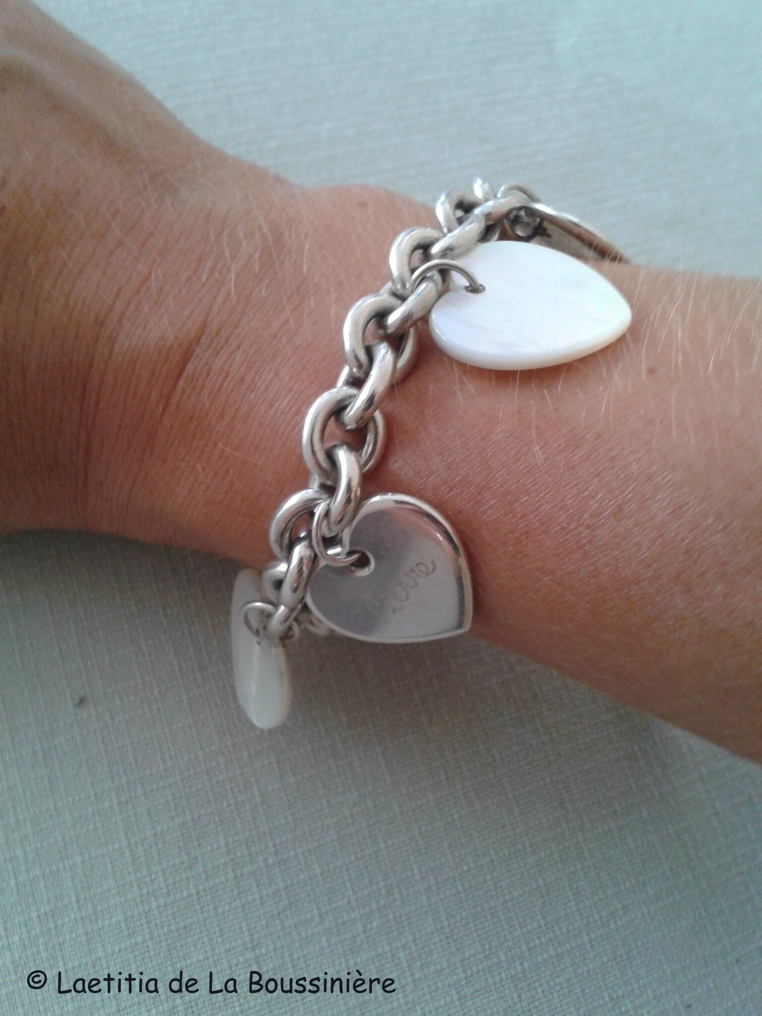 Le bracelet personnalisé de Coralie (sur chaîne plaqué argent ovale)