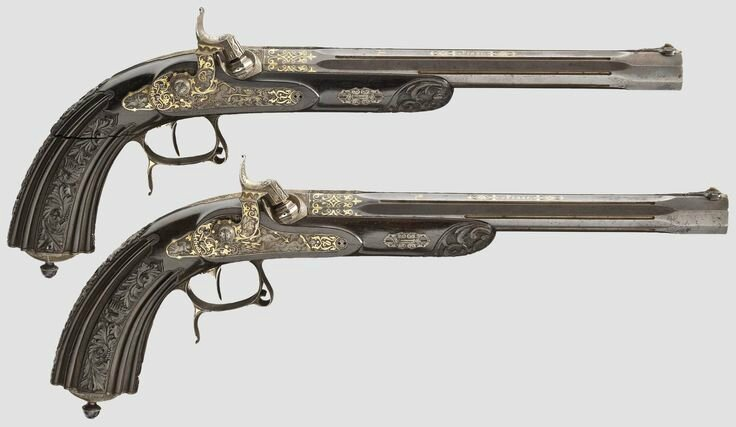 A pair of deluxe percussion pistols, Lebeda in Prague, circa 184050