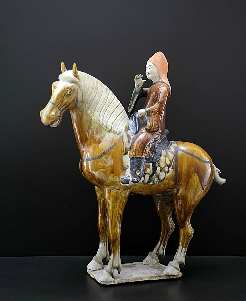 Musician on standing horse, China, Tang dynasty (618-907), 8th century