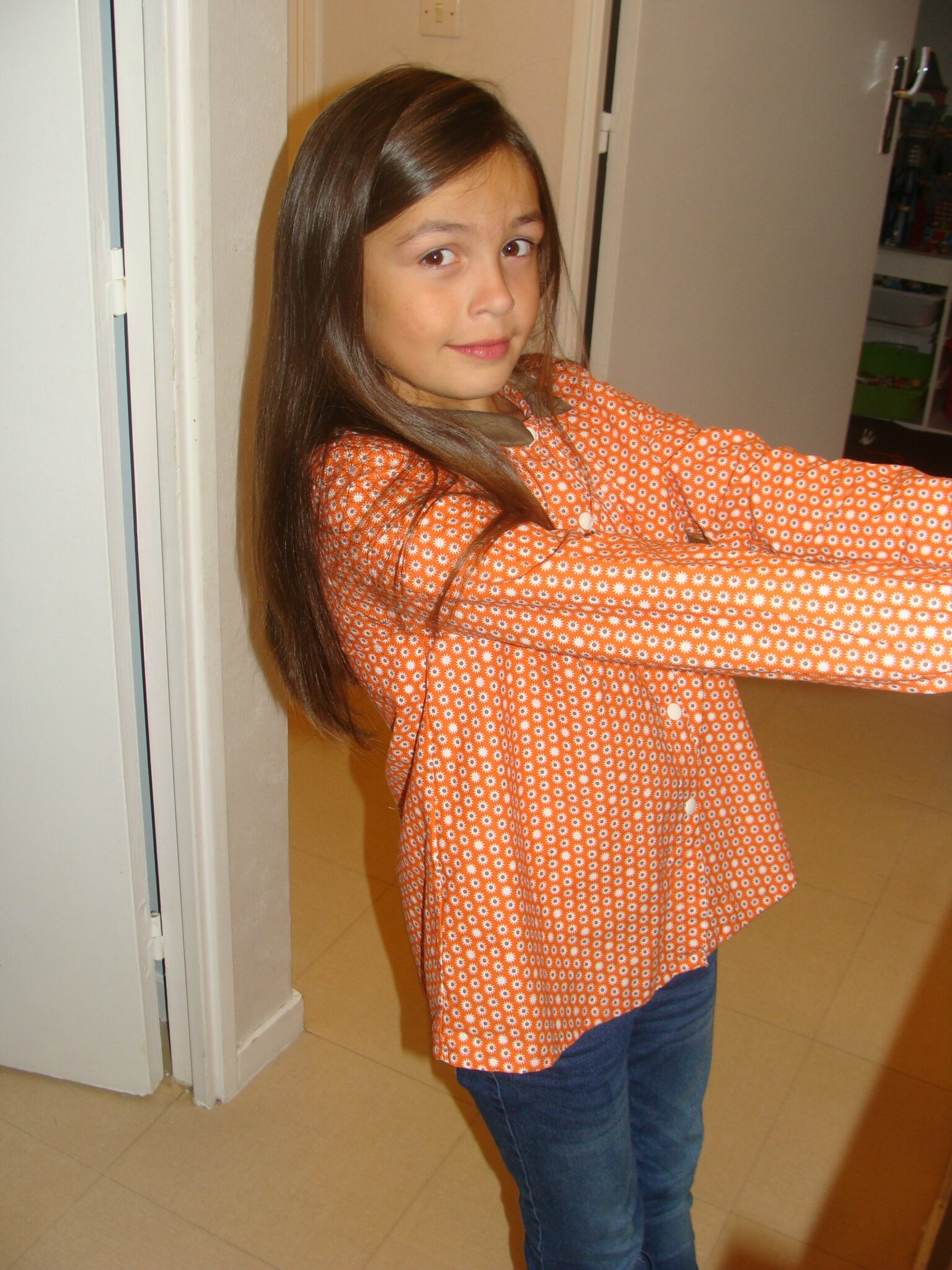 blouse roses and dots 12 ans