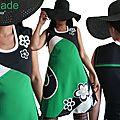 MOD 484A Robe noire blanche verte Fleurie 70's Printemps 2017