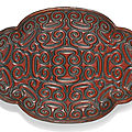 a cinnabar lacquer quatrelobed dish, ming dynasty, 16th century