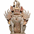 A painted pottery figure of an earth spirit, zhenmushou, tang dynasty