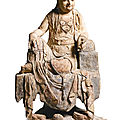A carved and polychrome wood figure of guanyin, song-early yuan dynasty
