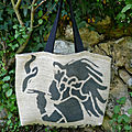 Sac cabas en toile de jute // sac de café recyclé // sac cabas en toile // sac femme // sac hippie chic