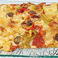 Pizza chorizo courgette poivron