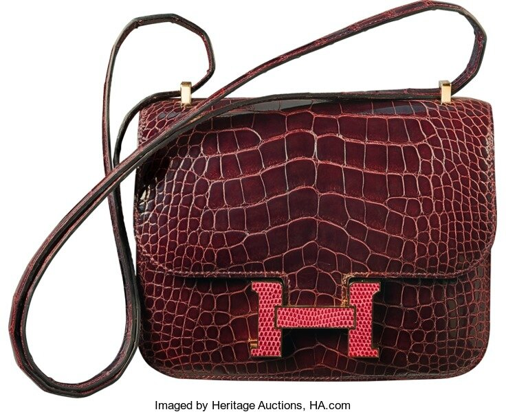 0591349372 Hermes Limited Edition 18cm Shiny Bordeaux Alligator & Rouge H Lizard  Marquette Constance Bag with Gold Hardware, T, 2015. Pristine Condition.