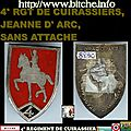 4° RGT DE CUIRASSIERS, JEANNE D' ARC, SANS ATTACHE