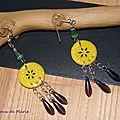 Boucles en fimo jaune et perle papier