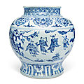 A large blue and white jar, ming dynasty, late 15th-16th century