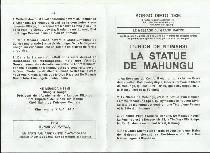LA STATUE DE MAHUNGU a
