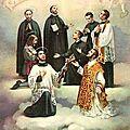 Cartes anciennes : plusieurs saints et un enfant de coeur