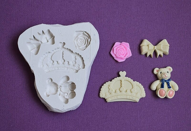moule silicone couronne ourson rose noeud