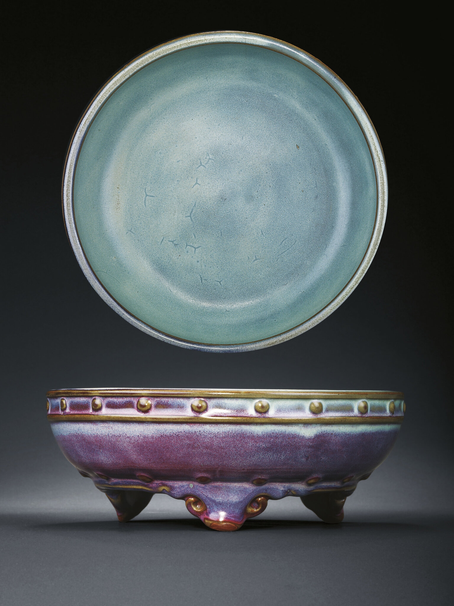 A rare 'numbered' purple glazed Junyao tripod 'narcissus' bowl, Yuan-early Ming dynasty, 14th-15th century