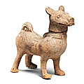 A large sichuan pottery model of a hound, han dynasty