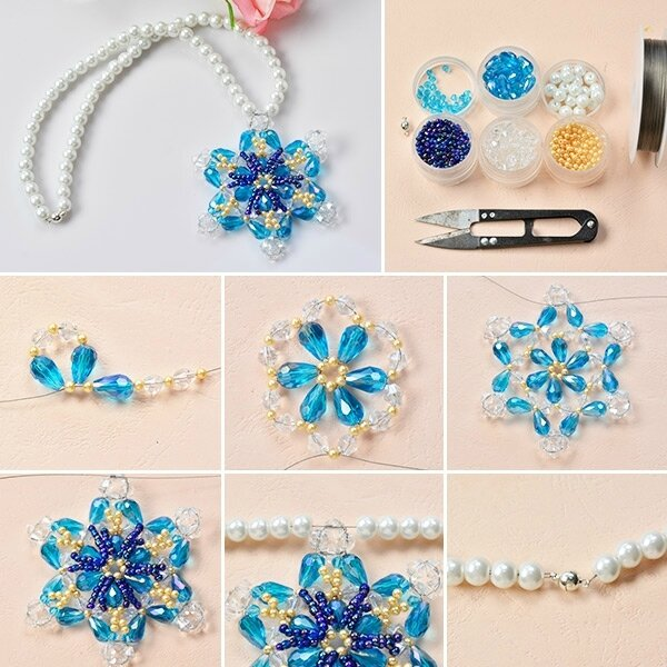 600-How-to-Make-a-Blue-Glass-Beaded-Snowflake-Pendent-Necklace-for-Summer