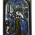 Attributed to the penicaud workshop, after a design by albrecht dürer, french, limoges, mid 16th century, plaque depicting joach