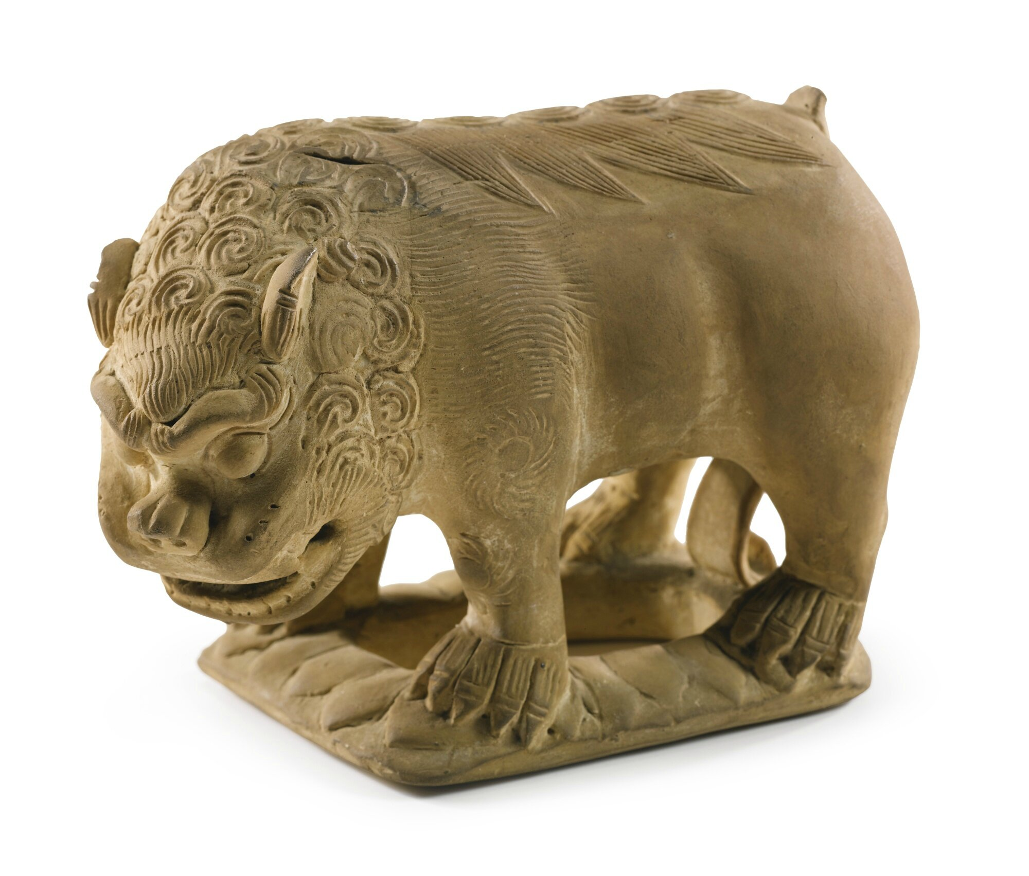 A pottery figure of a standing lion, Tang dynasty (618-907)