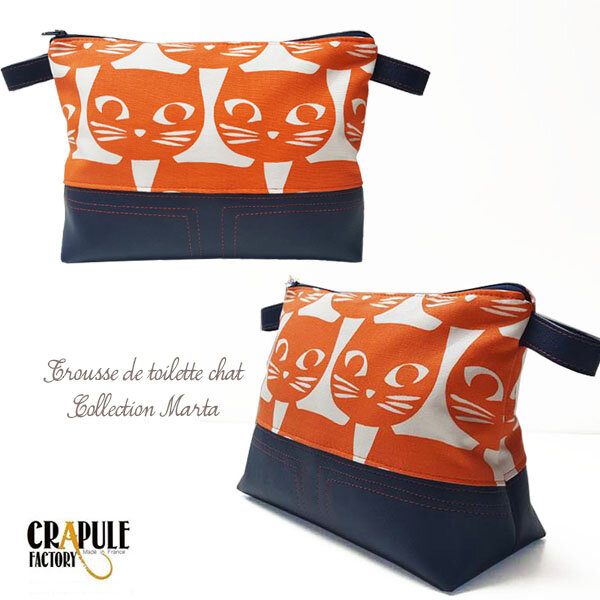 Grosse trousse de toilette pop bleu nuit motifs CHATS orange original stephanie erlich maujean CrApule FActOry