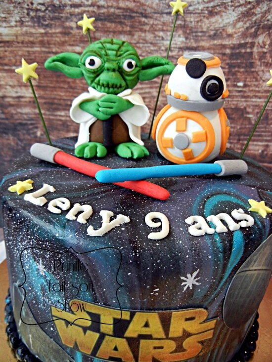 gateau star wars yoda bb8 galaxie prunillefee 3