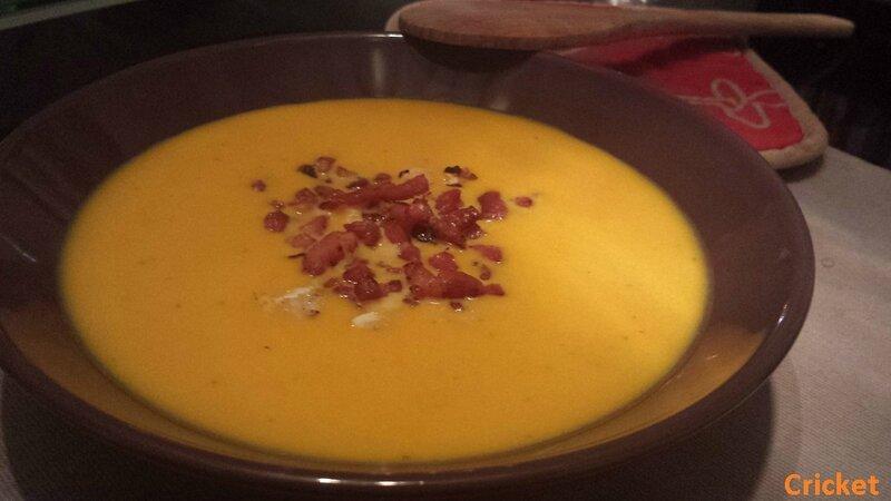 Soupe potimarron chataignes & lardons