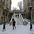 La butte Montmartre sous la neige.