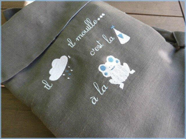 sac à dos enfant en lin et grenouille brodée