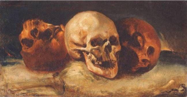 Théodore Géricault (anciennement attr. à Triqueti) : Nature morte aux trois crânes. Musée Girodet